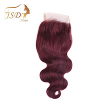 "JSDshine Brazilian Body Wave Closure 4x4 Burgundy Human Hair Lace Closure Red 99j Color Non-Remy Swiss Lace Closure 8""-18""(China)"