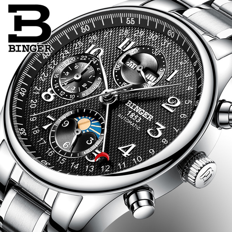 где купить Switzerland Automatic Mechanical Watch Men BINGER Luxury Brand Mens Watches Sapphire Wristwatches Waterproof relogio masculino по лучшей цене