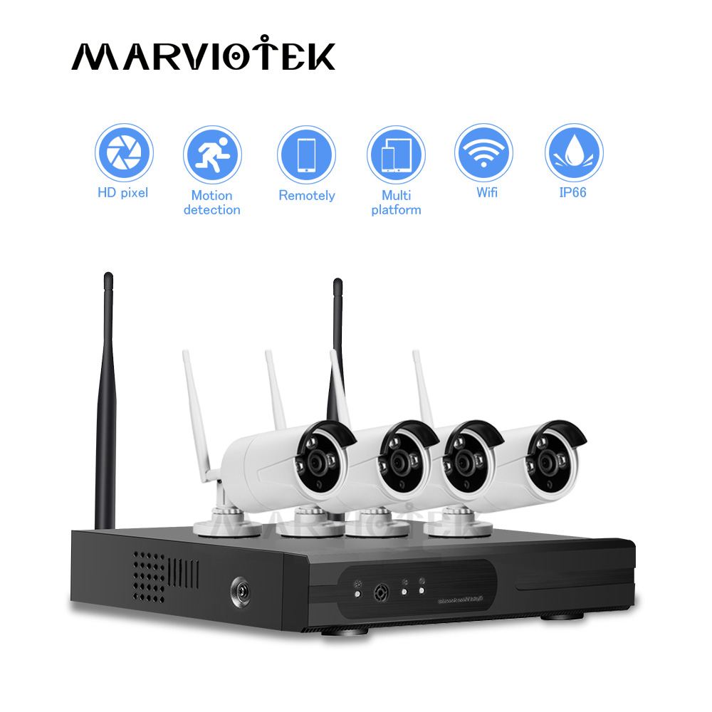 CCTV Camera System wireless 1080p home camera security system wifi ip camera wifi nvr kit 4 cameras 8ch p2p dvr kit Night Vision