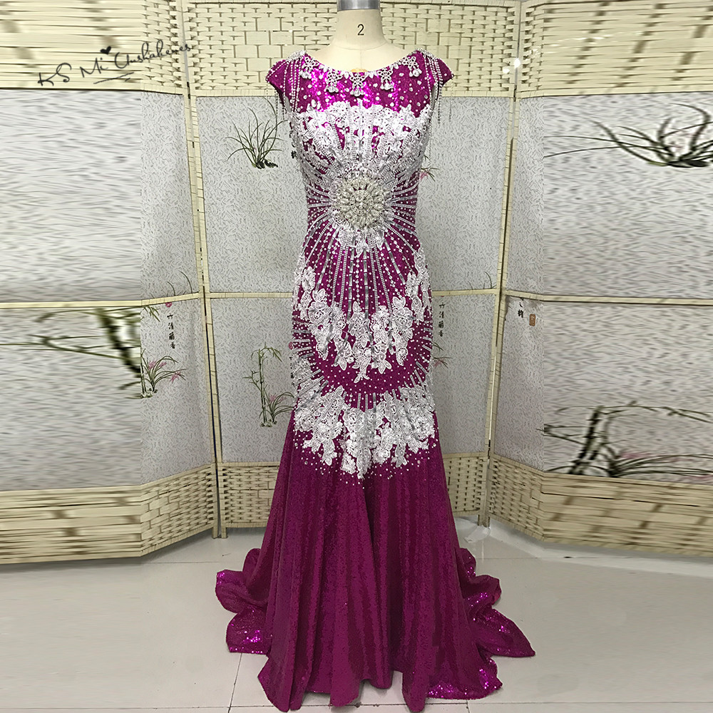 Luxury Formal Crystals   Evening     Dresses   Long Fushcia Sequin Prom   Dress   Lace Beads Mermaid   Evening   Party Gowns Dubai Abendkleider