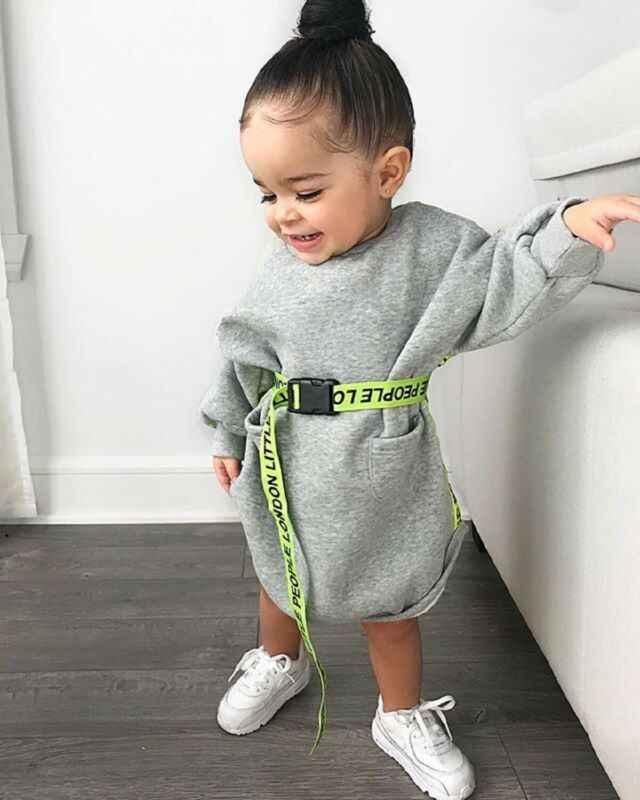 Vestidos para niños ropa para niño chico y Niña de manga larga vestido gris Jersey vestidos otoño primavera lindo vestido Casual