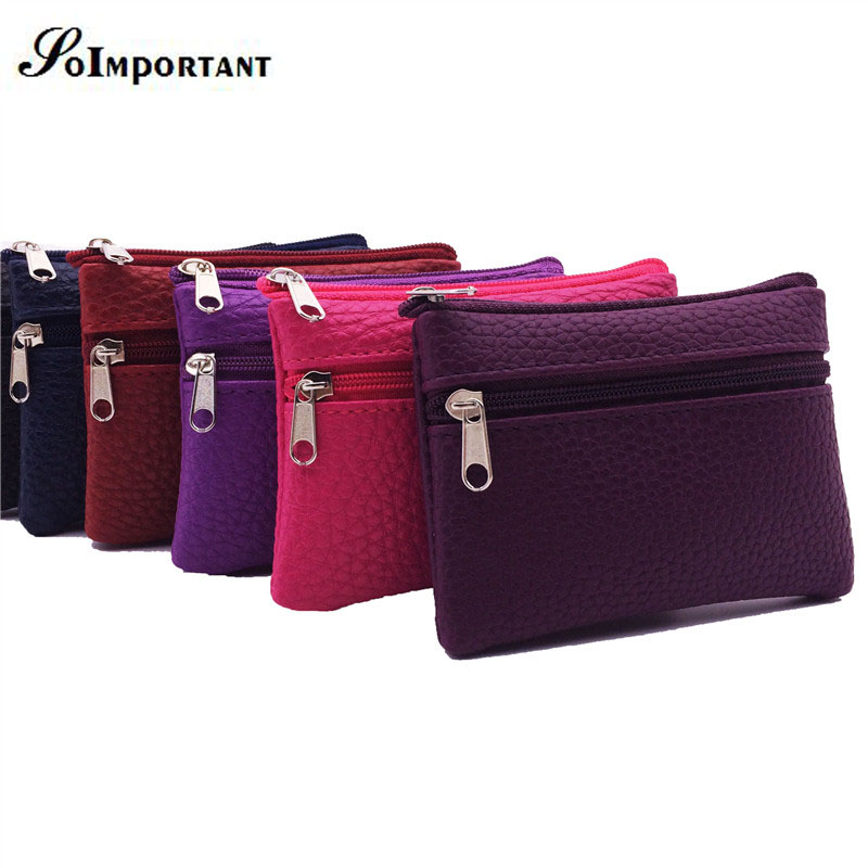 SOIMPORTANT Small Leather Wallet Female Coin Purse Women Credit Card Holder Slim Wallets Double Zipper Magic Mini Wallet Clutch dollar price women cute cat small wallet zipper wallet brand designed pu leather women coin purse female wallet card holder