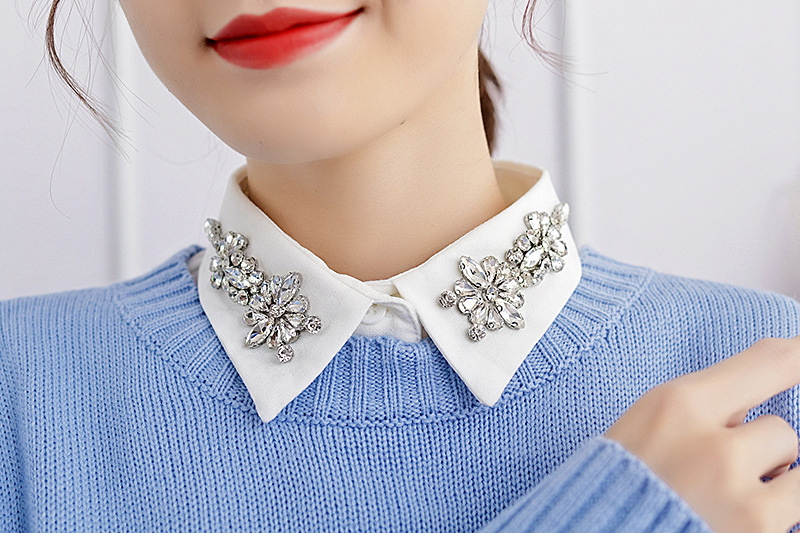 Detachable Lace Up Fake Collar Shirt Bead Crystal Women High Quality Shirt Fake Collar New Arrived Women And Men Blue Stripes
