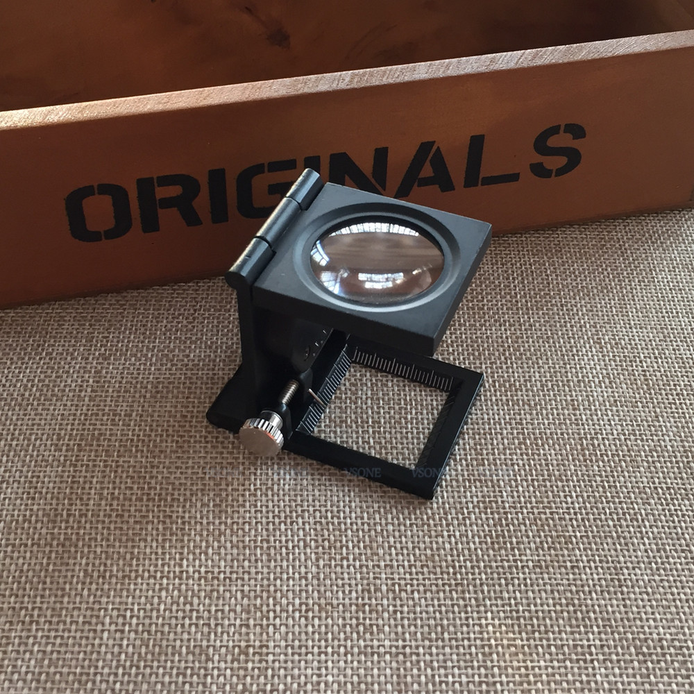 20X 28mm Fabric Scale Magnifying Measure Glass Fresnel Lens Pocket Portable Lupa Desktop Foldable Stand Magnifier