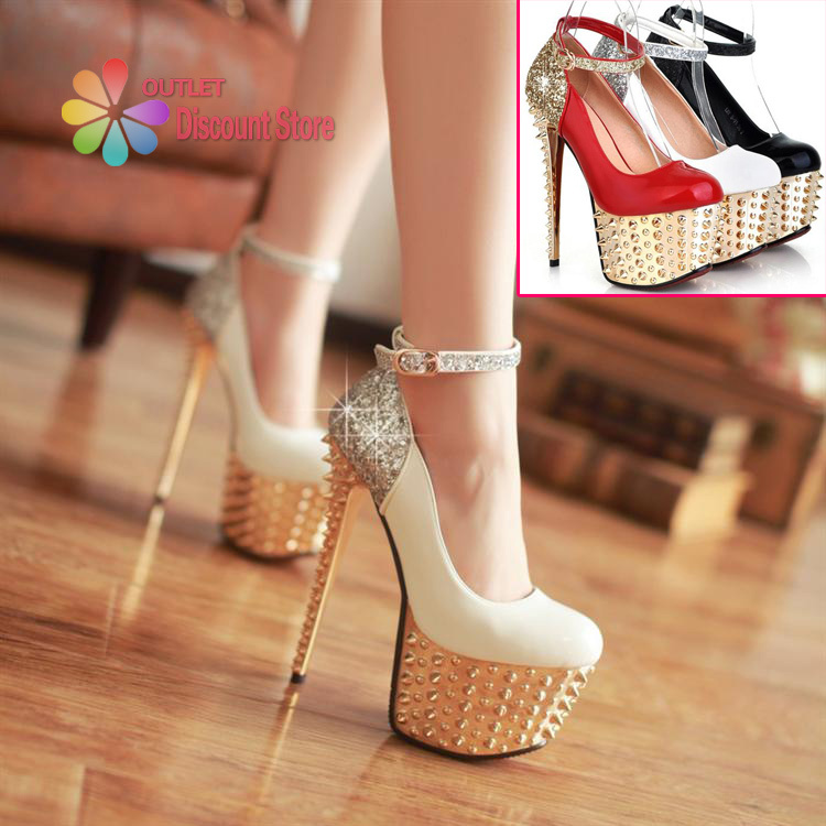 16 CM 6 inch Ultra High Heels With Rivets For Wedding Party Hochzeitsschuhe  Golder Shoes Ankle Strap Heels Buckle Sapatos HXS033