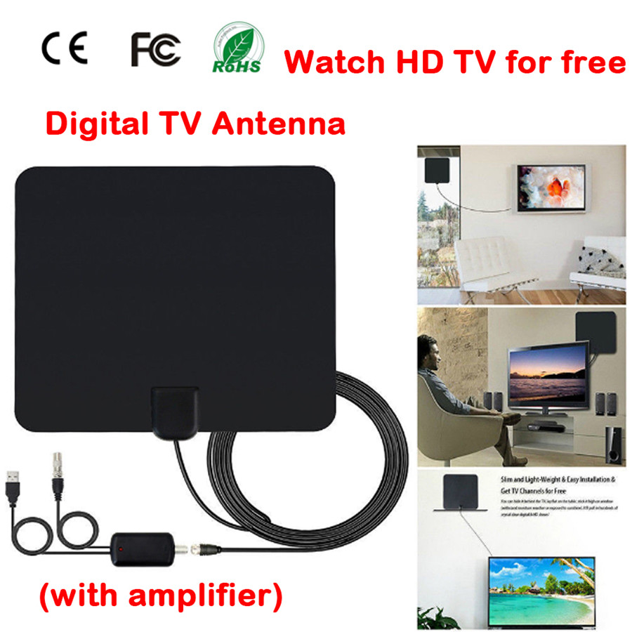 Antenna tv dvb-t2 HD Indoor Antenna TV Digitale con 50 Mile Long Range Amplificatore Del Segnale HDTV Booster Versione Aggiornata Per DVB T2