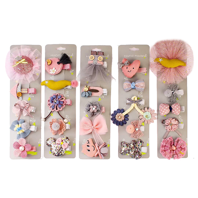 NEW 5Pcs/Lot   Headwear   Set Children Hair Accessories Ribbon Bow Hair Clip Lace Flower Hairpins for Girls Princess Star Headdress
