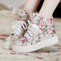 Fashion Brand Women Canvas Shoes Breathable Lace Up Spring Autumn Women Casual Shoes Ladies Walking Floral Shoes