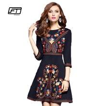 2017 Новая Коллекция Весна Three Четверти Рукав Тонкий О-Образным Вырезом Dress Женщины Повседневная A-Line Вышитые Цветы Плюс Размер Vintage Dress Vestidos