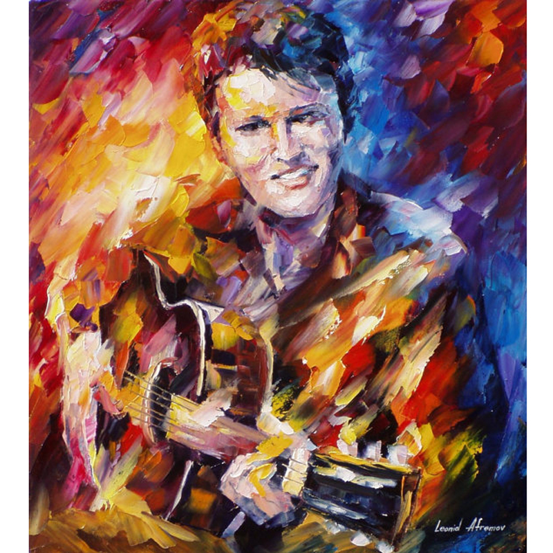 ̿̿̿(•̪ )Pintado a mano paisaje resumen Elvis Presley Paletas al óleo ...