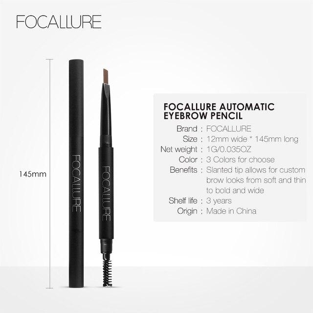 FOCALLURE Waterproof 3 colors eyebrow pencil easy to wear eye brow enhancer natural black brown gray professional eyebrow pen 4