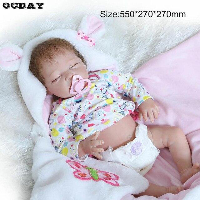 50/55/56cm Baby Alive Full Body Soft Silicone Vinyl Reborn Dolls Handmade Newborn Baby Doll Toys Girls Children Play Toys Gift