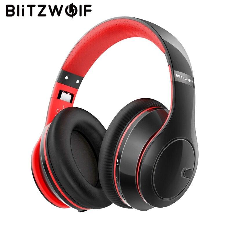 BlitzWolf casque sans fil bluetooth réglable pliable stéréo sur l'oreille casque casque avec micro pour PC téléphone MP3