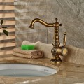 Carve Patterns Deck Mounted Antique Brass Bathroom Basin Faucet  Mixer Tap Single Handle