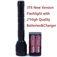 NEW Super Bright 6000 Lumens Electric torch 3 * XM L T6 LED 5 Mode 3T6 Flashlight Torch Lamp Light + 2*18650 + Charger