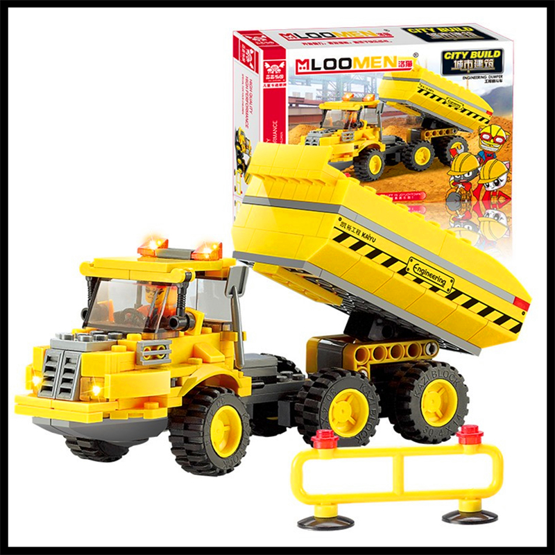 KAZI 8043 191Pcs City Series Engineering Truck Model Building Block Educational Figure Toys For Children Compatible Legoe jie star fire ladder truck 3 kinds deformations city fire series building block toys for children diy assembled block toy 22024