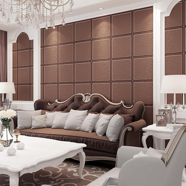 High Grade Luxury Ceiling Wallpaper 3d Square Lattice Papel De