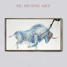 100% Hand Made Modern Abstract Animal Art Picture Cow Oil Painting On Canvas Cartoon Wall Living Room Home Decor