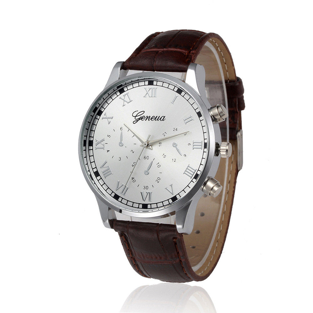 Relogio Masculino Men Business Watches Luxury Roman Numerals Round Dial Quartz Watch Mens Male Military Leather Wrist Watch #YL roman numerals dial artificial leather watch