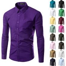 5XL Men Shirts Long Sleeve 12 Colors Slim Fit Shirt Trend Casual Blouses Clothes Hot Sale Camisetas Chemise Homme