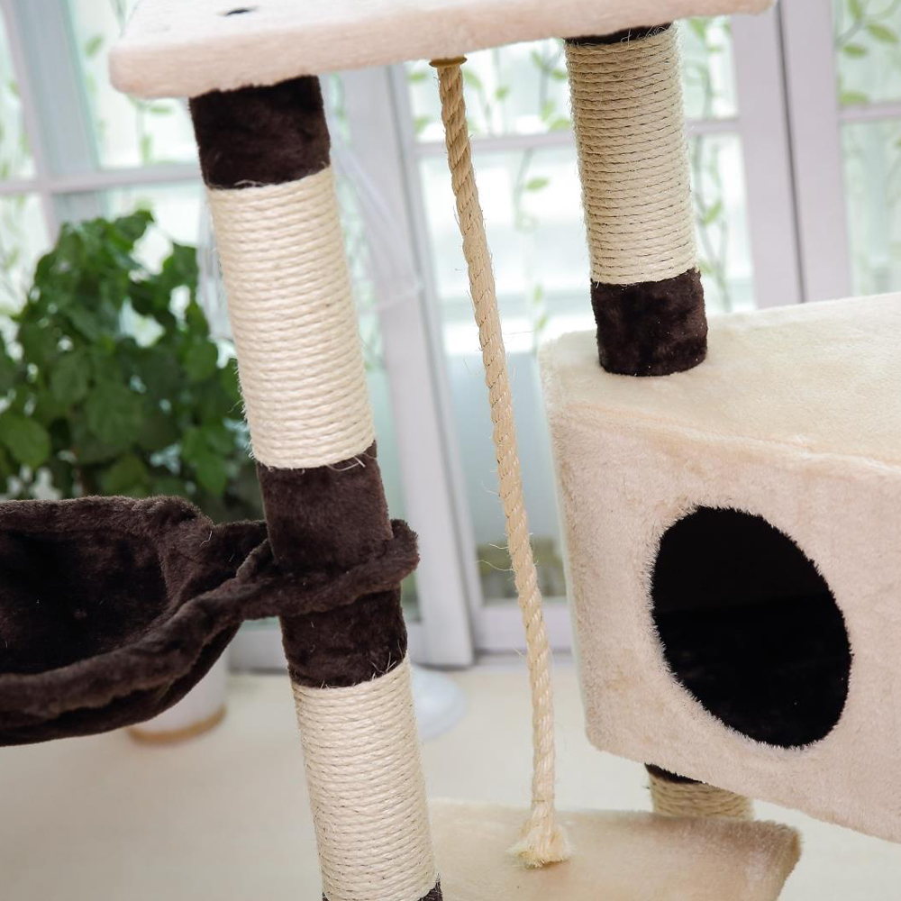 Domestic Delivery Cat Toy House Bed Hanging Balls Tree Kitten Furniture Scratchers Solid Wood For Cats Climbing Frame Cat Condos #2