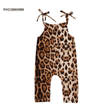 Newborn Girls Summer 0-24M Rompers Halter Sunsuit Playsuit Leopard Printed One Piece Clothes Outfits(China)