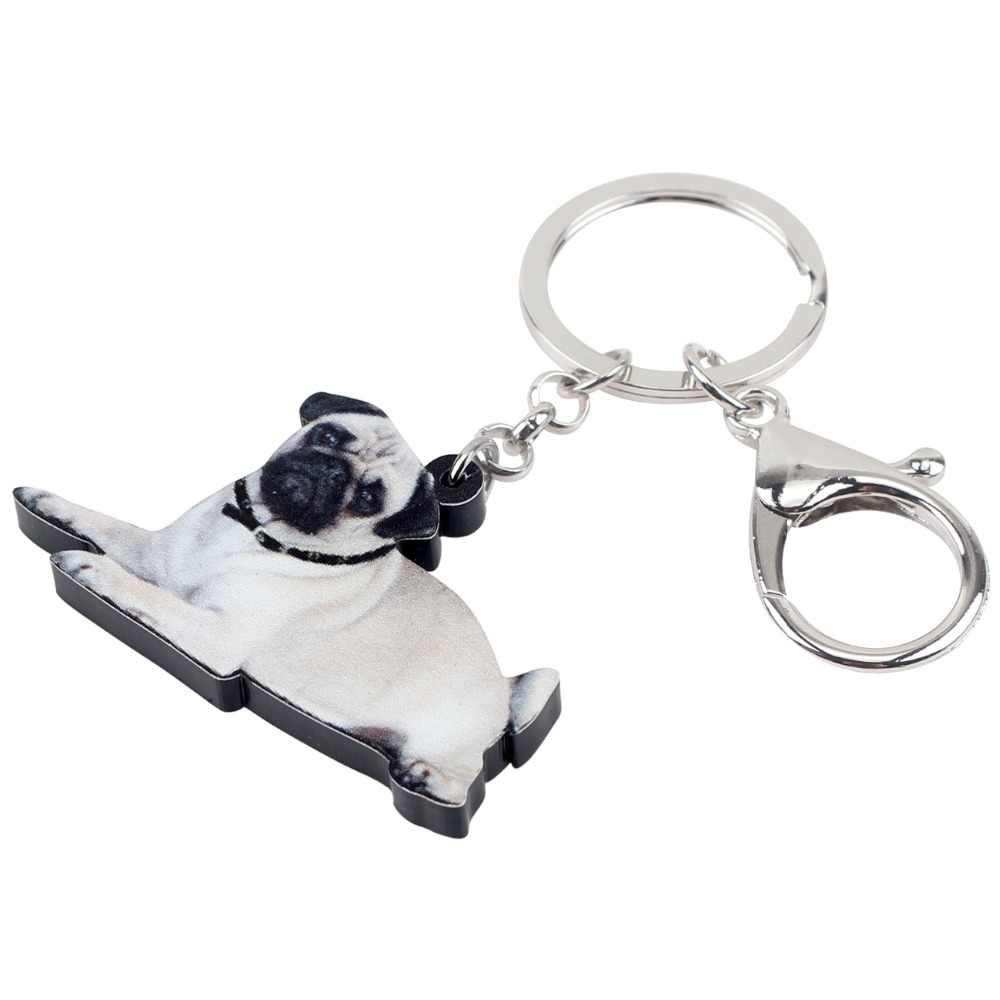 WEVENI Orijinal Akrilik Fransız Bulldog Pug Köpek Anahtarlık Anahtarlık Yüzük Sevimli hayvan figürlü mücevherat Kadınlar Kızlar Için Çanta Araba Ucuz Takılar