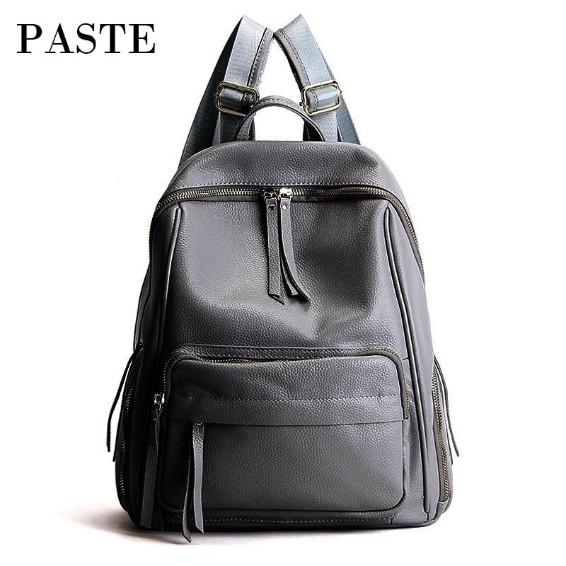 2018 Solid Color Korean Large Women Backpack Daily Genuine Leather Bagpack Female School Bag for Teenage girl Travel Back Pack