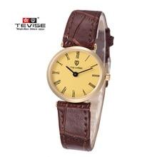 Los Hombres de lujo Marca de Relojes TEVISE Reloj de Cuarzo 30 m Impermeable Hombre de Cuero Casual de Negocios Reloj de Los Hombres Ultra-delgado Relojes de Pulsera para Los Hombres