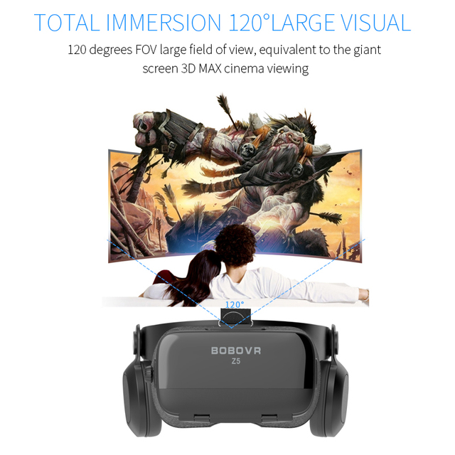 BOBOVR Z5 120 FOV VR Virtual Reality Glasses Remote 3D Android Cardboard VR 3D Headset Stereo Helmet Box for Smartphones 4.7-6.2 1