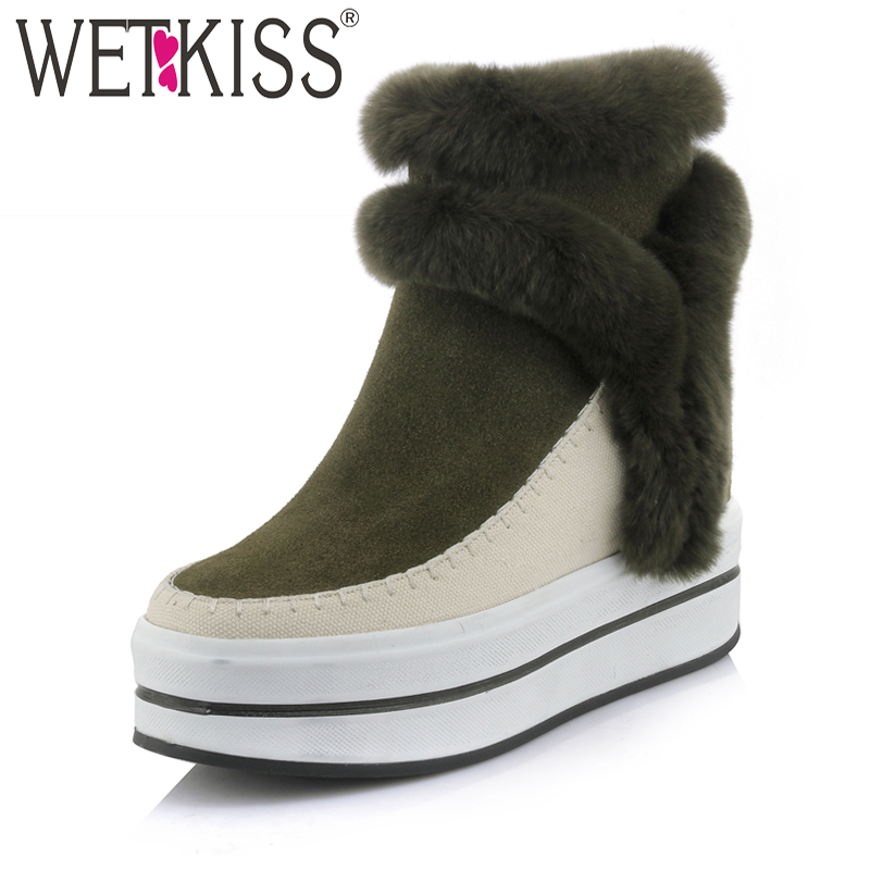 WETKISS Stylish Designers Winter Boots Fur Ankle Boots Platform Height Increasing Female Shoes Leather Suede Footwear Zip