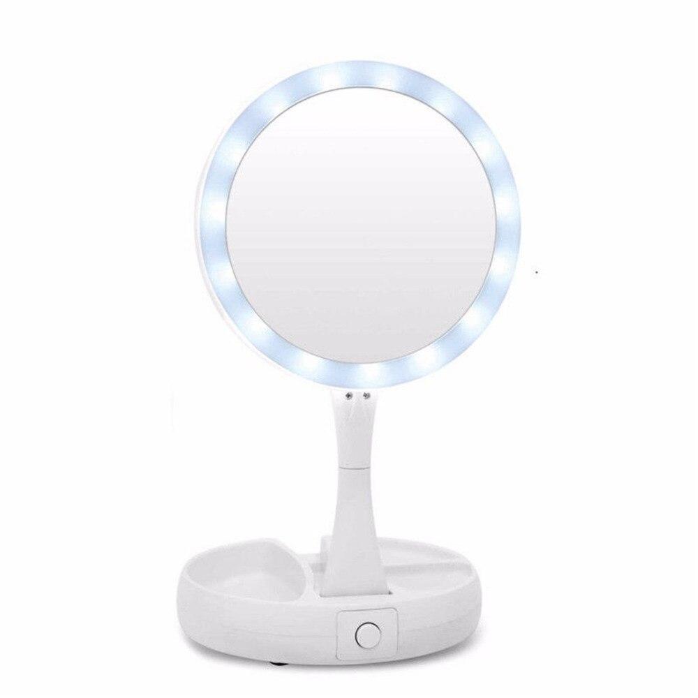 Spiegel AnpassungsfäHig Beruf Led Make-up Spiegel Doppelseitige Rotation Klapp Beleuchtete Eitelkeit Spiegel Bildschirm Tragbare Tabletop Lampe