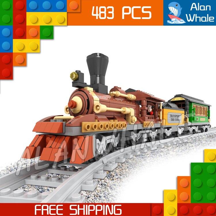 483 pièces Train Créateur Classique locomotive À Vapeur Trains 25809 Figure Blocs De Construction Jouets De Chemin De Fer Compatible Avec LegoING