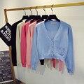 Nueva Primavera Moda Mujeres Casual Camisa corta Cardigans Capa de la Chaqueta Corta de Punto Suéteres Cardigan Feminino Blusas Suéter Poncho 859