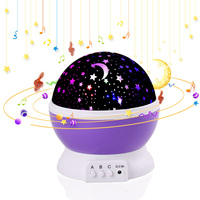 Projection Lamp Music Night Light Projector Spin Star Moon Sky Children Kids Baby Sleep Romantic LED