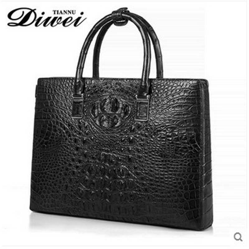 diwei 2017 new hot free shipping male crocodile leather briefcase multi function laptop font b bag