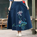 Fashion Deep Blue Lotus Flower Printed Skirts Womens Spring New 2016 Long Skirts Casual Large Size Elastic Waist Skirt