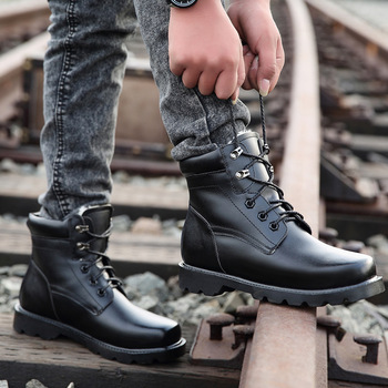 New Cotton Shoes Men 2020 Winter Fashion High Top All Black Boots Thermal Plush Inside Casual Warm Martin Boots for Male 38-44