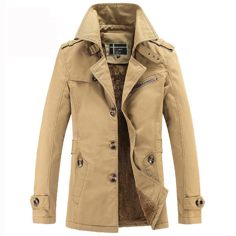 Фирменная Новинка толстые Для мужчин куртка Повседневное Slim Fit Хлопок Тренч Куртки Мужская мода Пальто Jaqueta Весте Homme