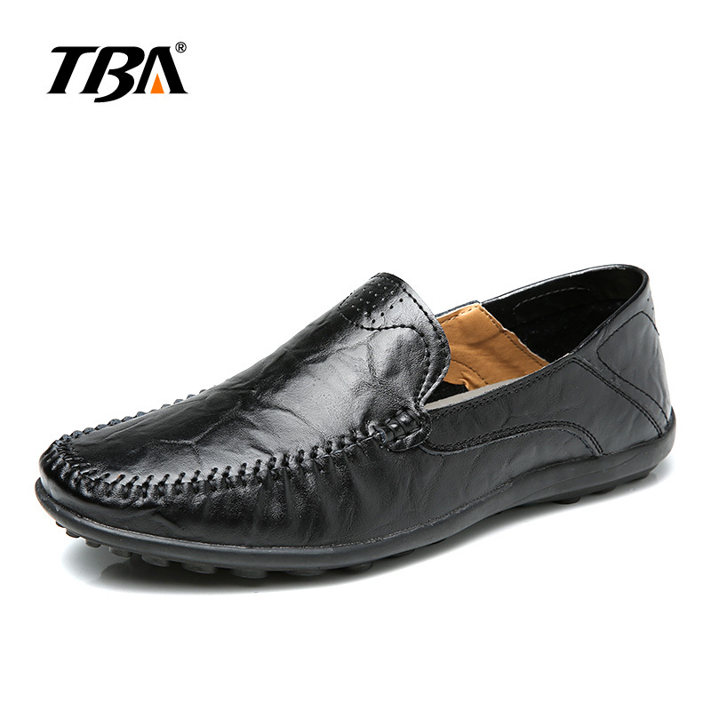 TBA Chinese Brand Men Real Second Leather Casual Shoes Convenient Lazy Tods Slip-on Big Size 38-47 EUR Brown/Black TBA NO T1587 branded men s penny loafes casual men s full grain leather emboss crocodile boat shoes slip on breathable moccasin driving shoes