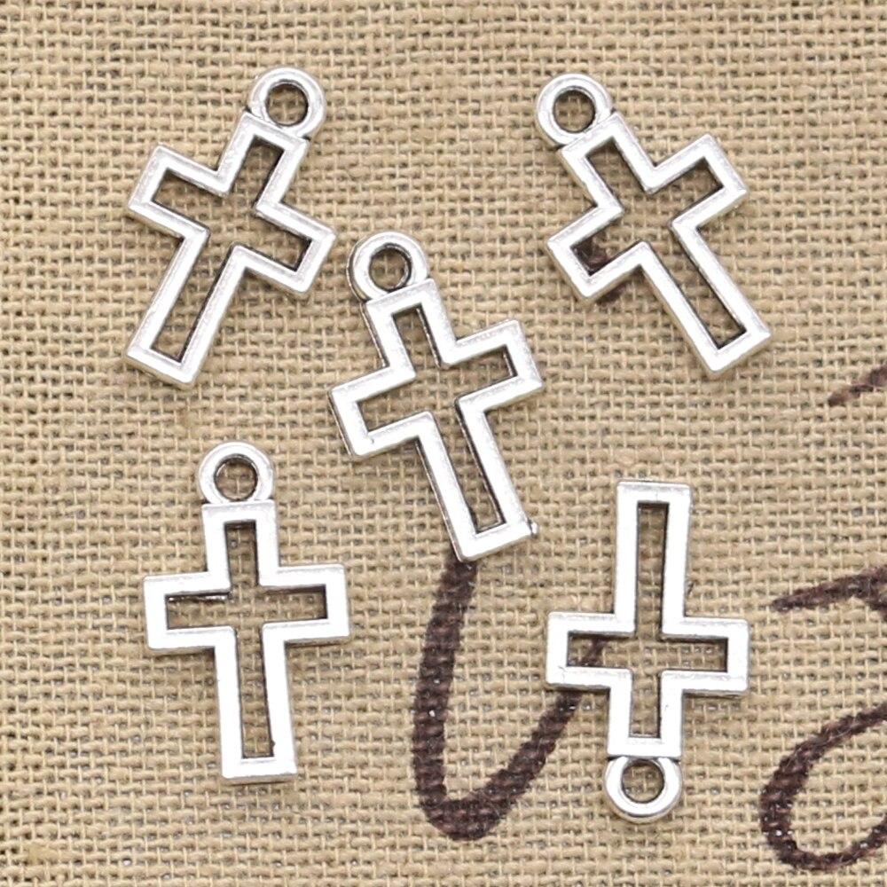 Wholesale 100pcs Tibetan Silver Jesus Cross Charms Pendant Beads 19x12mm