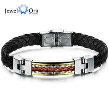 Wholesale Stainless Steel Men Jewelry Rope And Genuine PU Leather Delicate Specail Button For Men Bracelet (JewelOra BA101929)(China)