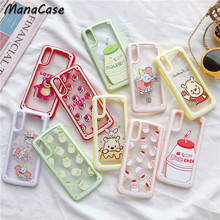 Cute Korean style Strawberry Banana Milk Transparent Phone Case For