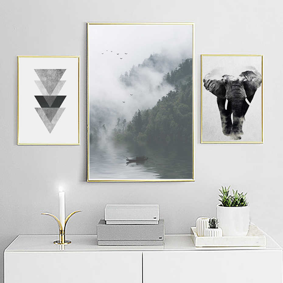 Abstract Nordic Landscape Canvas Painting Black White Poster Print Typography Wall Art Picture for Living Room Home Office Decor