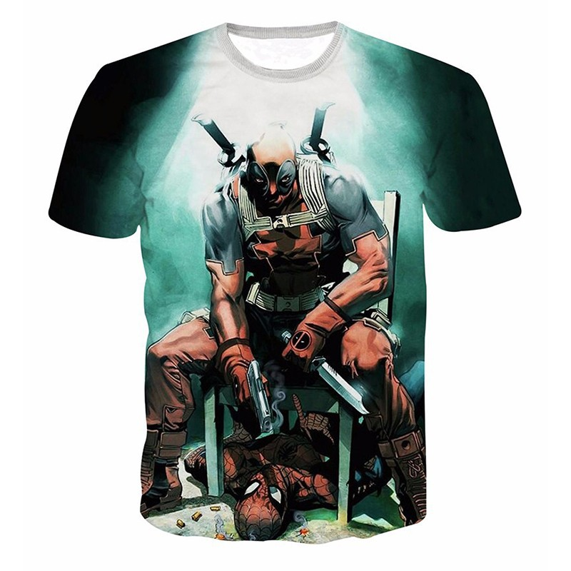 GUMPRUN 2018 Summer New Men Marvel Heroes Series Anime T Shirts Dead Men 3D Men O Neck Casual Fashion T Shirt Tops Riverdale in T Shirts from Men 39 s Clothing