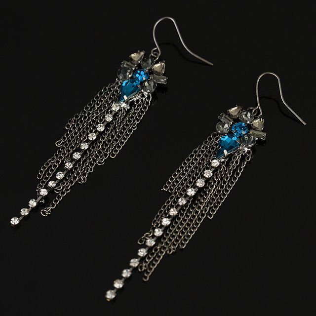 Long Chain Tassel Drop Earrings For Women