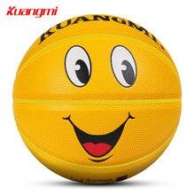Kuangmi PU Material Kids Basketball Ball Size 5 Children Boys Girls Basketball Smilling Face Games Street Balls Basquete Toys