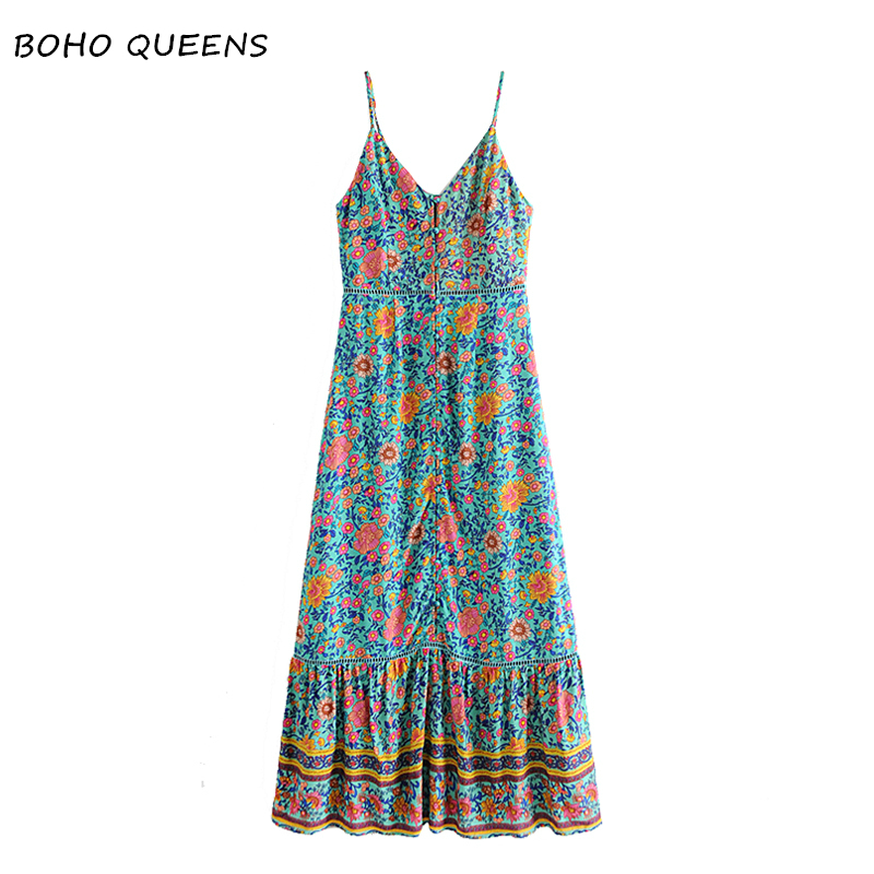 Vintage Chic Women floral print sleeveless beach long Bohemian rayon dress Ladies Summer Spaghetti Strap Boho Maxi dress