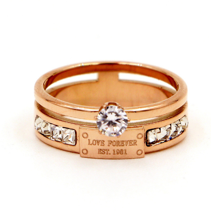 Crystals-Rings Finger-Ring Jewelry Letter Cubic-Zirconia Love-Forever Luxury Brand R001