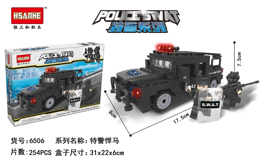 City Series Police Swat Military  Car Building Block sets Kids Educational Bricks blockset Toys Compatible With Lepin 2017 enlighten city series garbage truck car building block sets bricks toys gift for children compatible with lepin